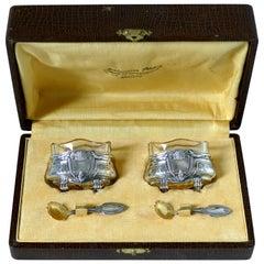 Crossard French Sterling Silver 18 Karat Gold Salt Cellars Pair, Spoons, Box