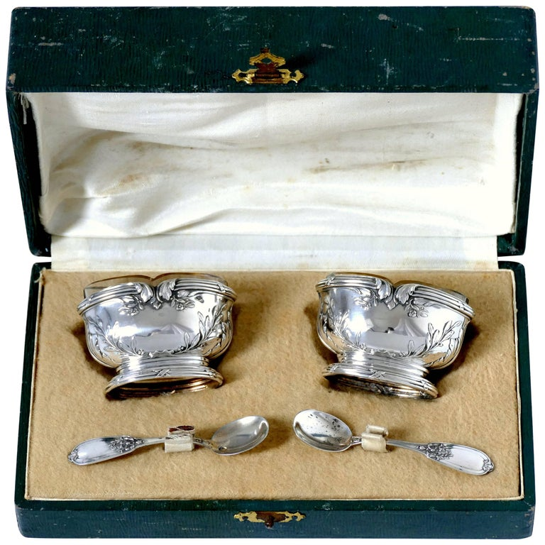 Moncheront French Sterling Silver 18-Karat Gold Salt Cellars Pair, Spoons, Box For Sale