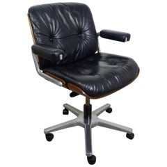 Leather Office Swivel Chair from Stoll Giroflex AG, Switzerland, 1970s