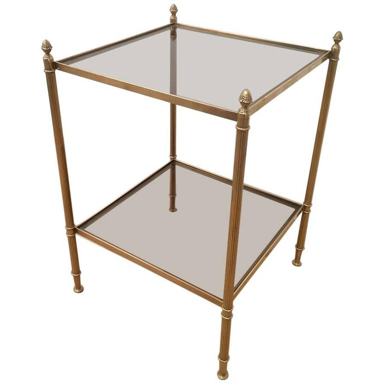 Brass and Glass Side Table by Maison Jansen