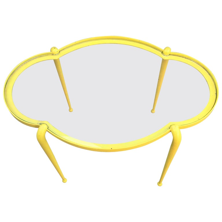 1960 French Work, Little Side Table in Yellow Lacquered Metal For Sale