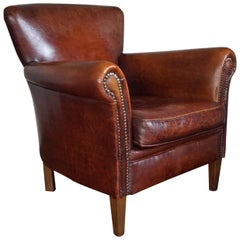Great Quality and Condition Sheep Leather & Wood Chair Armchair with Warm Patina