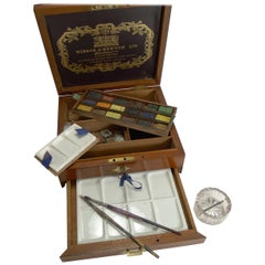 Antique English Winsor and Newton Artist's Watercolor / Paint Box, circa 1885