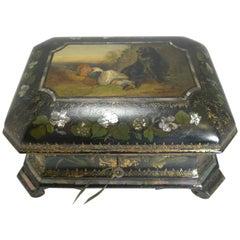 Exquisite Jennens & Bettridge Jewelry Box circa 1850, Girl and Dog Painting