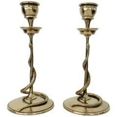 Pair of Carved Brass Snake Candleholders, France