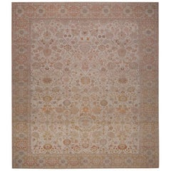 Handwoven Egyptian Rug in Persian Tabriz Design on Ivory Field with Tan Border