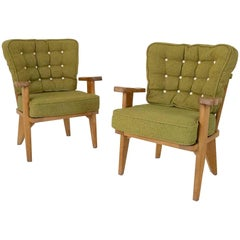 Guillerme et Chambron Pair of Armchairs, circa 1950, France