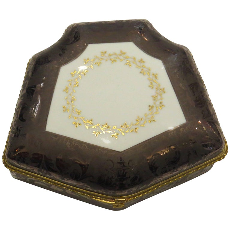 19th Century Limoges, Hand-Painted, Porcelain Box For Sale