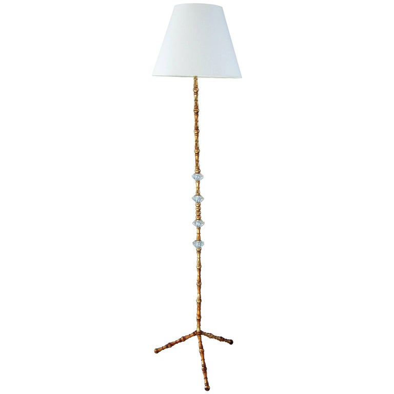 Midcentury Bamboo Brass Floor Lamp Maison Bagues, France, 1950s