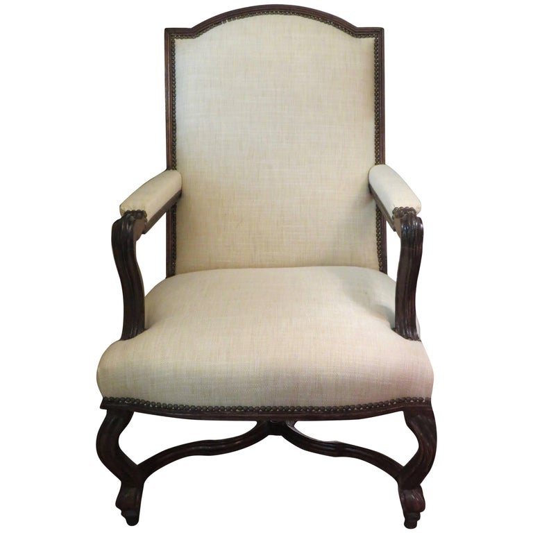20th Century French Oak Bergère Upholstered in Ivory Linen