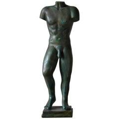 Male Torso Sculpture in Patinated Bronze