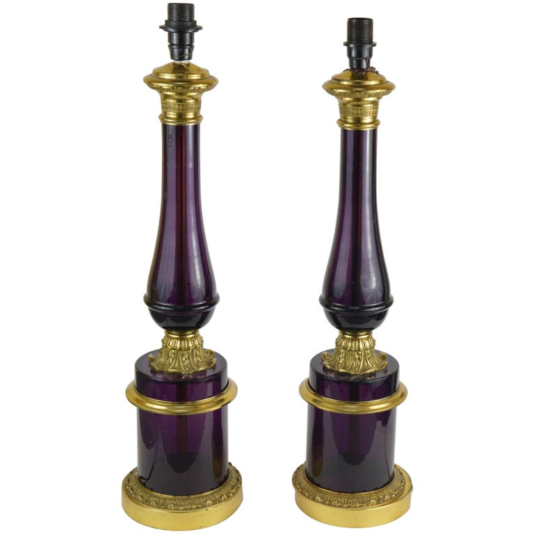 Pair of Empire Style Bronze Mounted Amethyst Glass Lamps