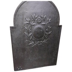 19th Century French Iron Fireback with Wreath Motif