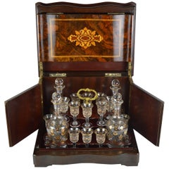 Walnut Marquetry Liquor Cabinet Box with Four Decanter & 13 Etched Gilt Glasses