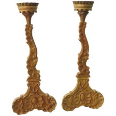 Pair of Carved French 19th Century Oak Candlesticks