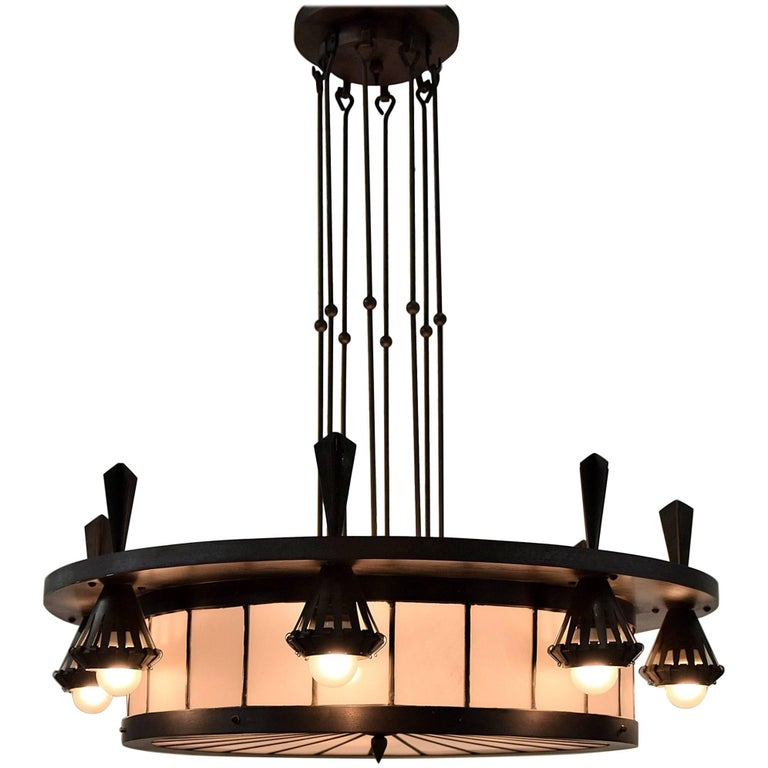 Art Deco Winkelman and Van Der Bijl Chandelier For Sale