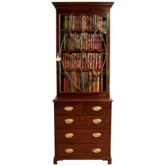 19th Century Narrow Mahogany Astragal Glazed Bookcase on Chest