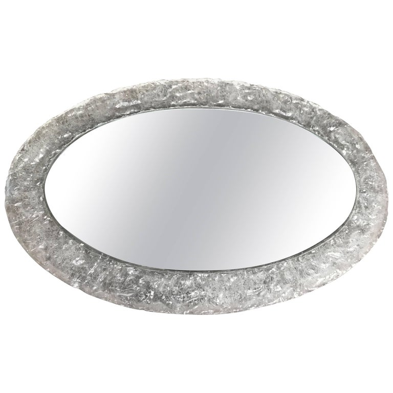 Rare Midcentury Design Oval Mirror in Faux Glass Frame with Frosted Ice Pattern