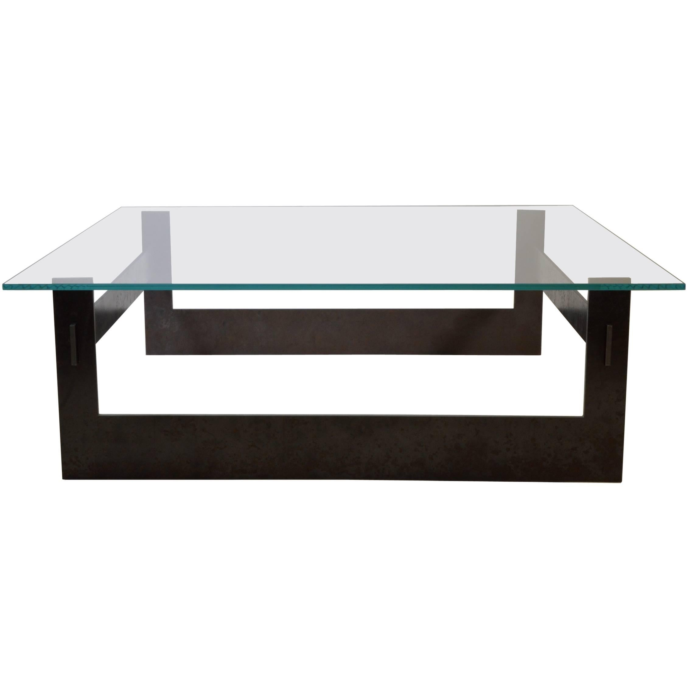 Contemporary Minimalist Blackened Steel and Glass Coffee Table by Scott Gordon