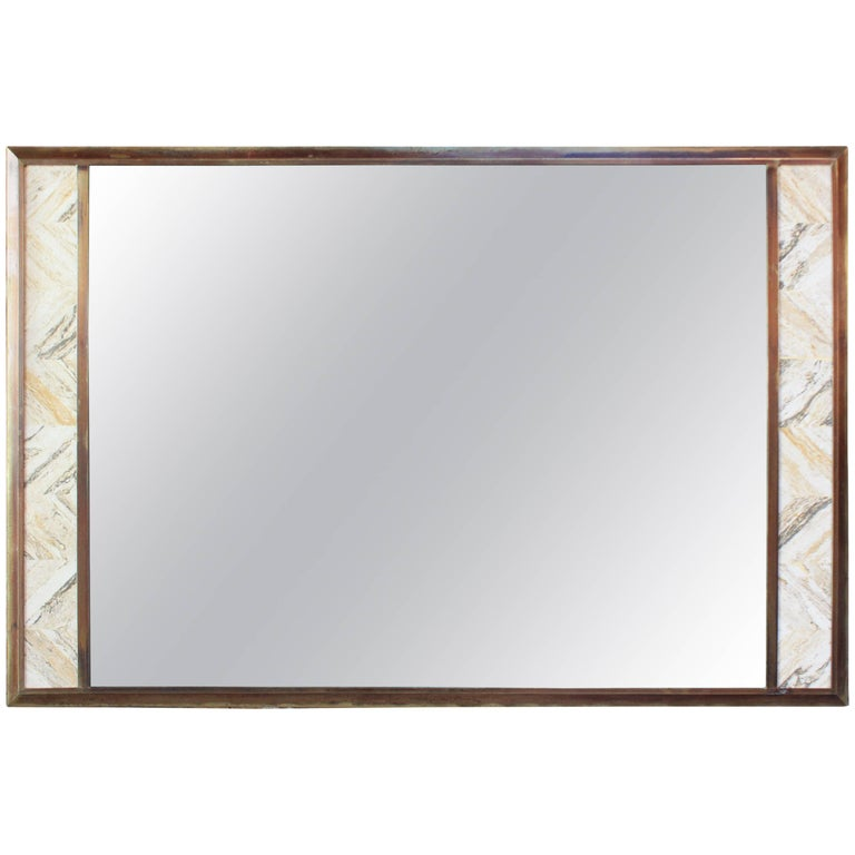 1970s Brass Mirror with Tessellated Travertine Inlay