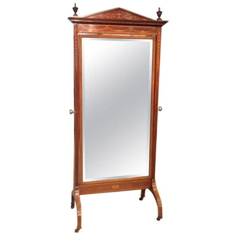 Good Mahogany Inlaid Edwardian Period Cheval Dressing Mirror