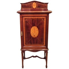 Fine Mahogany and Satinwood Marquetry Inlaid Edwardian Period Music Cabinet