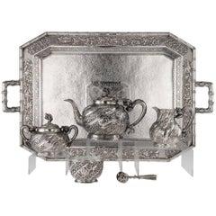 Antique Chinese Export Tu Qing Yun Solid Silver Dragon Tea Service, circa 1900
