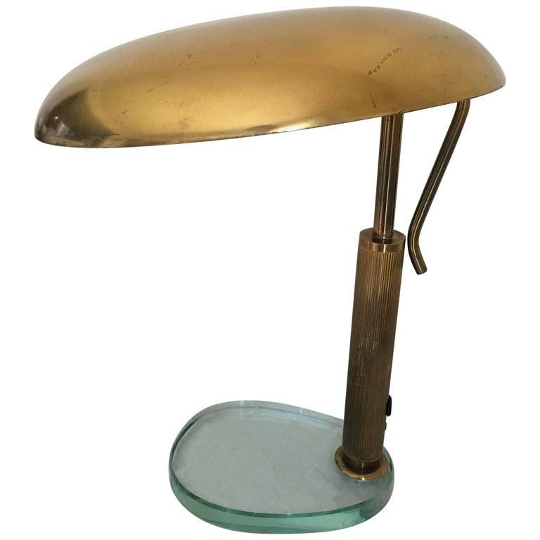 Fontana Arte 1950s Glass and Brass Desk Lamp with an Adjustable Reflector, Italy