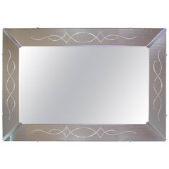 Large Venetian-Style Beveled Glass Decorator Mirror with Etched Frame
