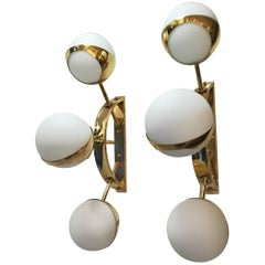 Pair of Italian Sconces Opaline Glass and Brass