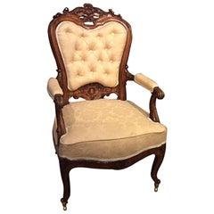Carved Walnut Victorian Period Antique Armchair