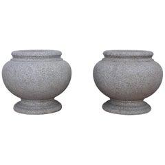 1960s Japanese Modernist Granite Planters