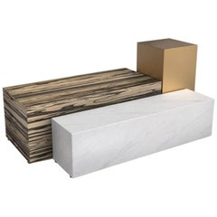 Leto Coffee Table 'White Ebony, Marble and Brass' by Hormé