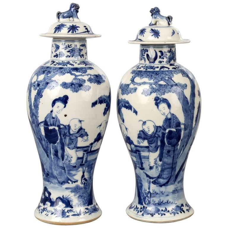 Chinese Pair of Blue and White Baluster Lidded Vases