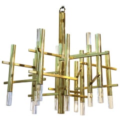 Sciolari Italian Atomic Era Chandelier in Polished Brass with Cylindrical Prisms
