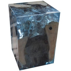 Andrianna Shamaris Ice Blue Cracked Resin Side Table