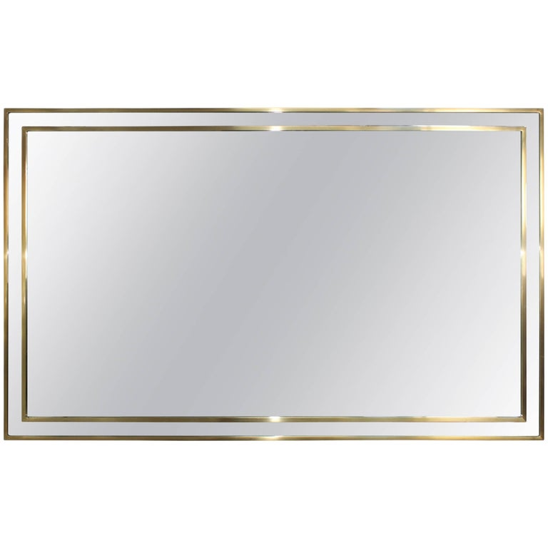 1970s Modern Italian Chrome and Brass Mirror