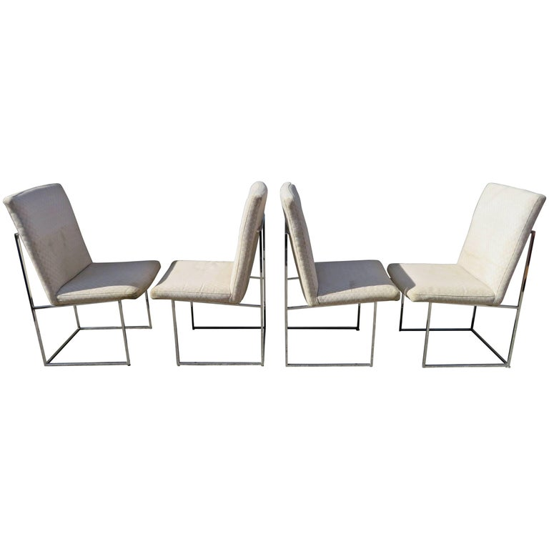 Set of Four Milo Baughman Chrome Cube Architectural Dining Chairs, Midcentury
