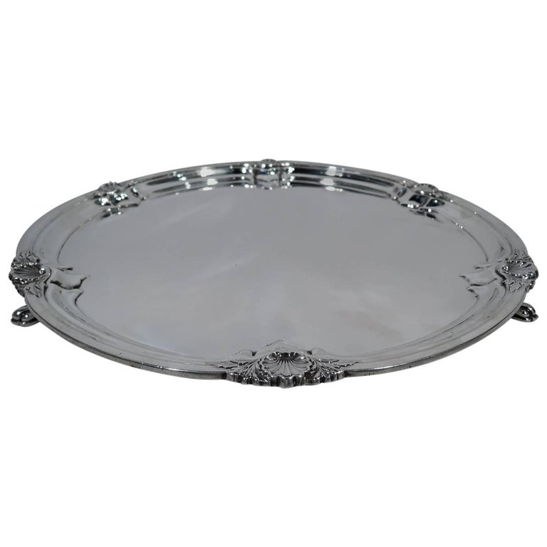 English Modern Georgian Sterling Silver Salver Tray For Sale