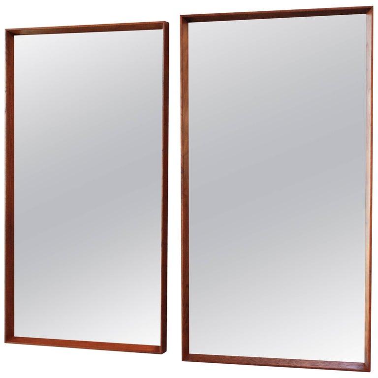 Pair of Danish Teak Wall Mirrors by Pedersen & Hansen