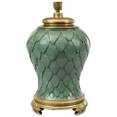 French Green Enamel and Brass Lamp