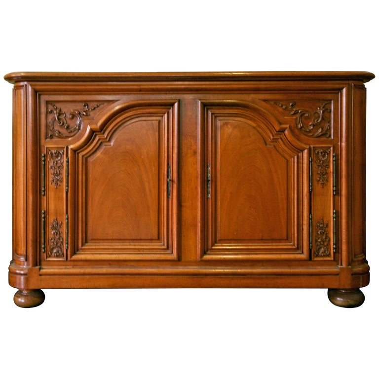 19th Century French Provincial Hand-Carved Walnut Sideboard