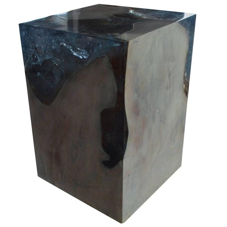Andrianna Shamaris Ice Blue Cracked Resin Side Table