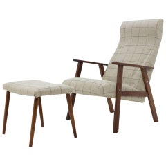 1960s Danish Teak Lounge Chair with Stool