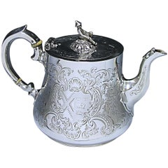 Victorian Antique Sterling Silver Tea Pot Made by William Ker Reid in 1845