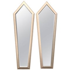 Monumental Pair of French Art Deco Silver Leaf Mirror, circa 1940s