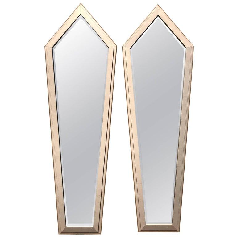 Monumental Pair of French Art Deco Silver Leaf Mirror, circa 1940s