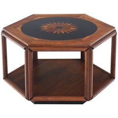 Brown Saltman Hexagonal End Table with Sunburst Inlay