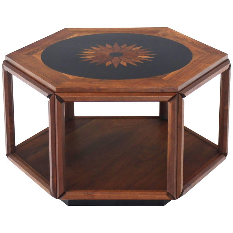 Brown Saltman Hexagonal End Table with Sunburst Inlay For Sale