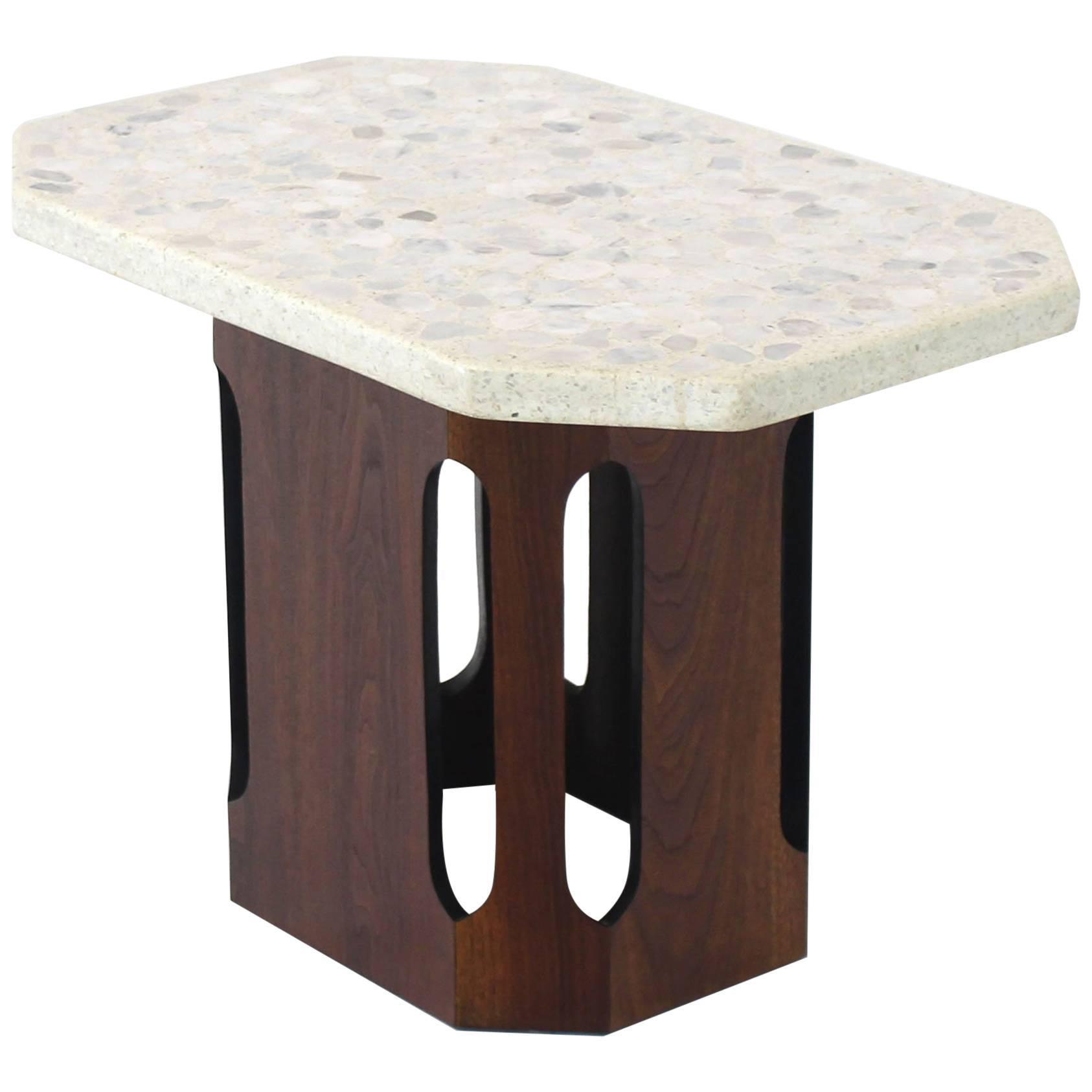Oiled Walnut Base Terrazzo Top Side Table